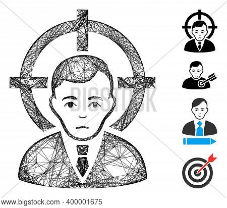Vector Net Victim Businessman. Geometric Hatched Frame Flat Net Made From Victim Businessman Icon, D