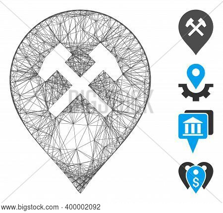 Vector Wire Frame Workshop Marker. Geometric Wire Carcass 2d Net Generated With Workshop Marker Icon