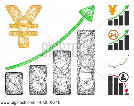 Vector Wire Frame Yen Growth Graph. Geometric Wire Frame Flat Net Made From Yen Growth Graph Icon, D