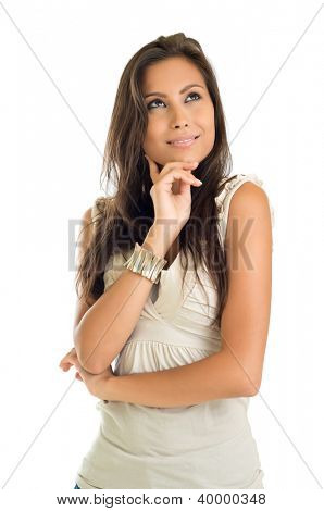 Portrait Of Pensive Woman On White Background