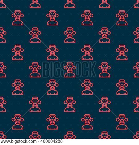 Red Line African Tribe Male Icon Isolated Seamless Pattern On Black Background. Vector