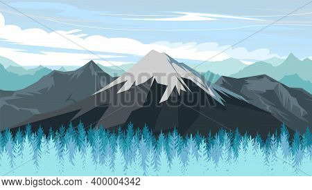 Mountain Range With Cliffs, Rocks And Peaks. Sky With Clouds. Landscape With Coniferous Forest, Taig