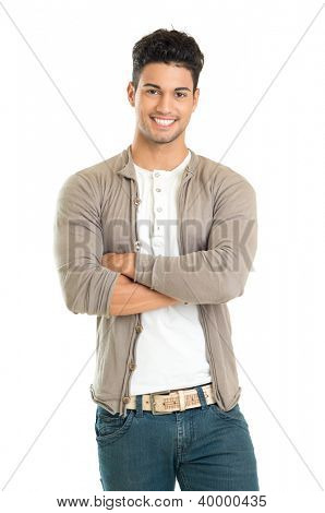 Casual Young Man Standing With His Arm Crossed Isolated On White Background