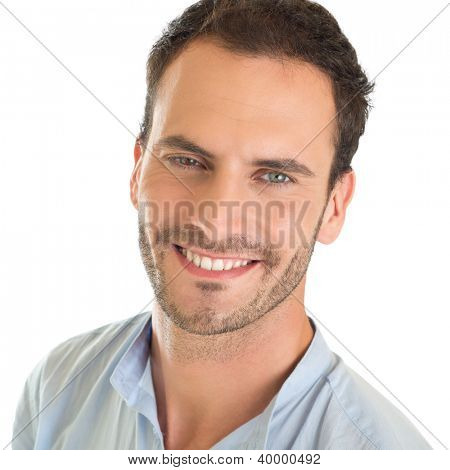 Closeup portrait of smiling young man isolated on white background