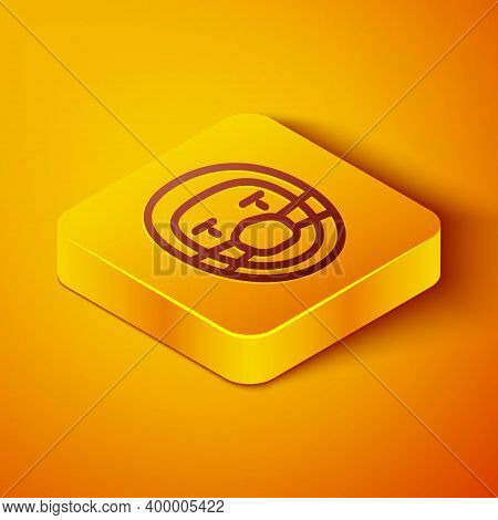 Isometric Line Doctor Pathologist Icon Isolated On Orange Background. Yellow Square Button. Vector