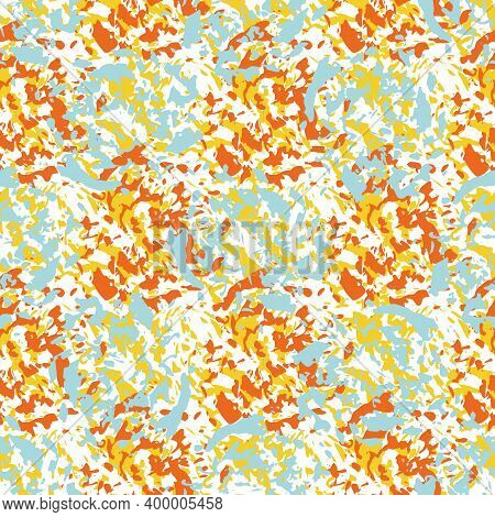 Colorful Paint Spatter Texture Seamless Vector Pattern Background. Tropical Color Mix Backdrop Of Pa