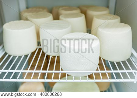 The Cheese Heads Are Dried On Racks In The Cheese Dairy. Workshop For The Production Of Cheese On An