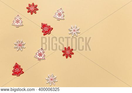 Christmas Toys On A Beige Background.christmas Composition, Christmas Concept, Happy New Year, Magic