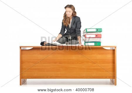 Busy businesswoman isolated on the white