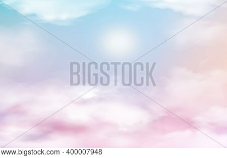 Pink Sky Heaven With Clouds, Baby Background. Sunset Or Sunrise Nature Landscape White,and Lilac Flu