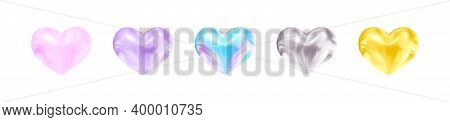 Adorable Hearts. Pink, Purple, Neon Blue, Silver, Gold. Decor For Holidays, Likes, Messages, Uplifti