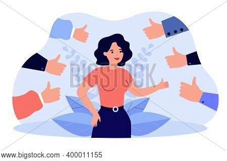 Proud Positive Woman Surrounded By Hands With Thumbs Up Isolated Flat Vector Illustration. Happy Car