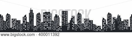 Night City Skyline. Silhouette Of The City In A Flat Style. Modern Urban Landscape. City Skyscrapers
