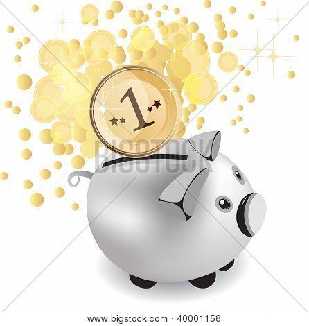 Piggy Bank And Money, Vector Illustration