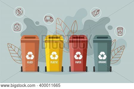Garbage Sorting Bins On Gray Background. Waste Recycling Concept.