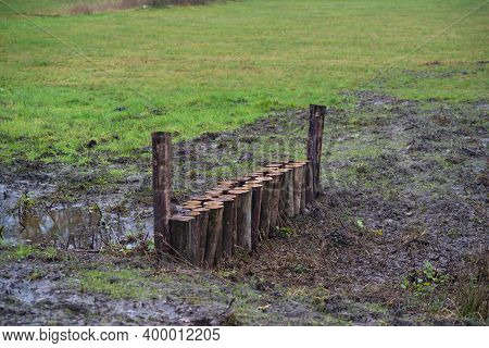 Man-made Obstacles In A Ditch To Retain The Water As Long As Possible, To Combat Drought