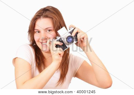 Happy Young Girl With An Old Camera