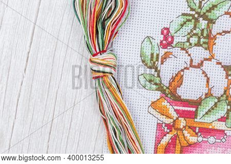 Cross-stitch Set With Printed Canvas, Needle And Floss Thread.