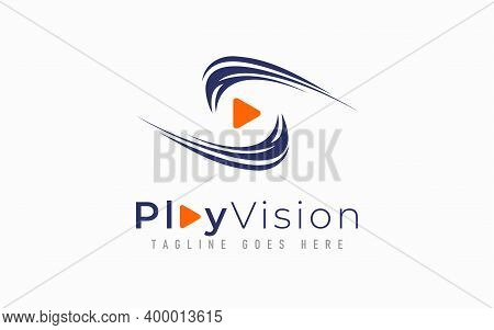 Play Vision Logo Design. Abstract Eye Vision Combine With Play Symbol. Usable For Business, Communit