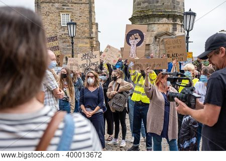 Richmond, North Yorkshire, Uk - June 14, 2020: A Group Of Black Lives Matter Protesters Wearing Face