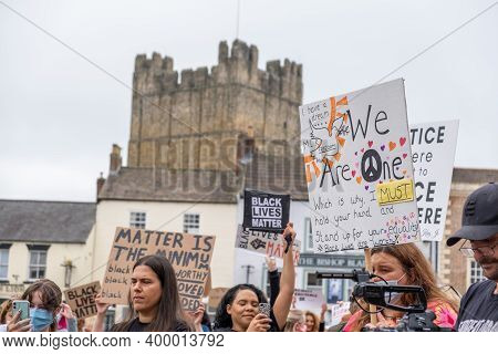 Richmond, North Yorkshire, Uk - June 14, 2020: Anti-racism Banners In Front Of Richmond Castle At A
