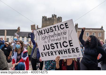 Richmond, North Yorkshire, Uk - June 14, 2020: A Banner Quoting Martin Luther King Jr Is Held In Fro