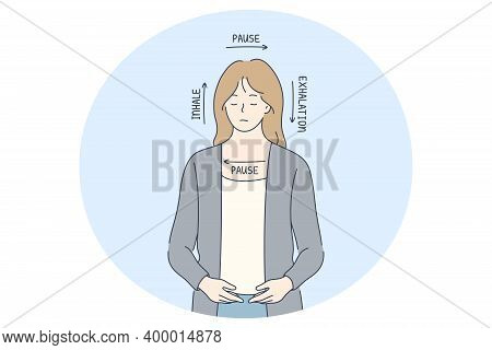 Stress, Overwork, Breathe Concept. Young Woman With Eyes Closed Feeling Stress And Breading In Four