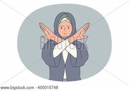 Stop, Rejection, Prohibition Concept. Muslim Angry Woman In Traditional Clothing Standing Crossing H
