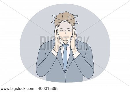 Stress, Overwork, Overload Concept. Unhappy Depressed Stressed Young Businessman Office Worker Touch