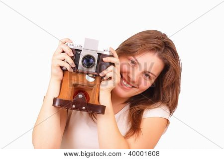 Pretty Young Girl With An Old Camera