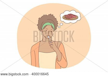 Unhealthy Eating, Fast And Junk Food, Calories Concept. Young Positive Girl Cartoon Character Standi