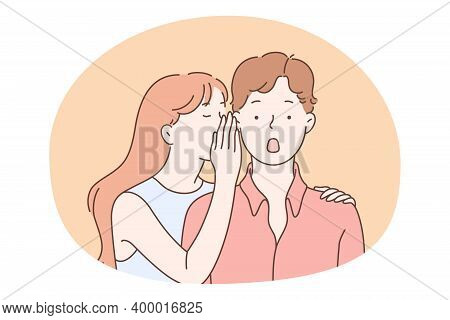 Gossip, Secret, Privacy Concept. Teen Girl Cartoon Character Whispering Secret To Her Surprised Boy
