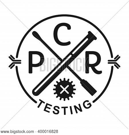 Pcr Testing Icon In Hipster Style With Swab Stick, Test Tube, Crossed Bacterie And Antibody - Polyme