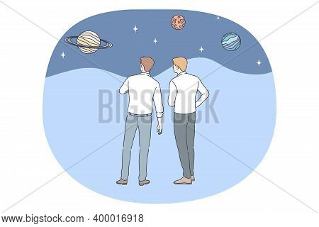 Astronomy And Planetarium Concept. Men Scientists Standing And Observing Planets In Universe And Dis