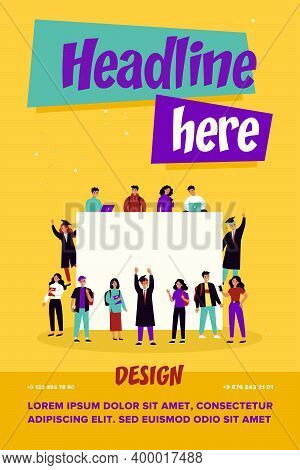 College Students Around Blank Banner. Young Girls And Guys In Graduation Caps And Gowns Flat Vector