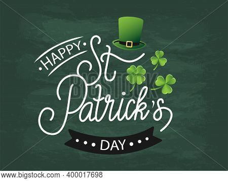 Vector Illustration Of Happy Saint Patricks Day Logotype. Hand Drawn Celebration Text With Leprechau