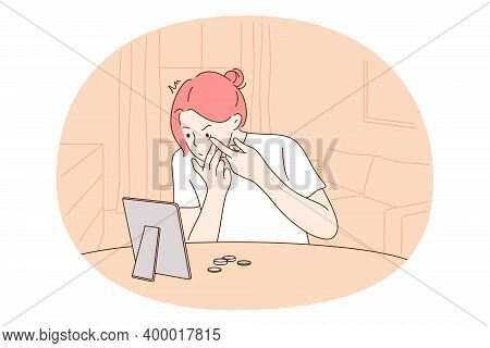 Contact Eye Lens Concept. Young Girl Carton Character Sitting At Window And Trying To Put On Or Put