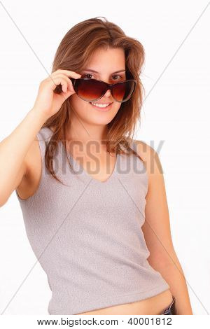 Pretty Young Girl With Sunglasses