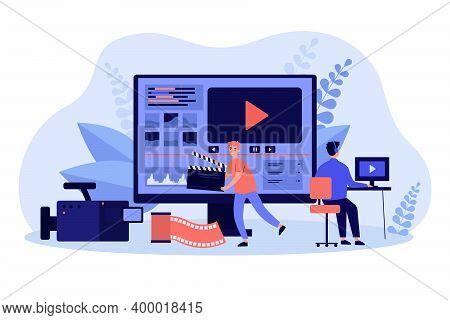 Tiny Video Operators Working With Visual Media Content Flat Vector Illustration. Cartoon Operators C