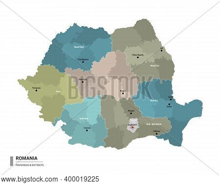 Romania Higt Detailed Map With Subdivisions. Administrative Map Of Romania With Districts And Cities
