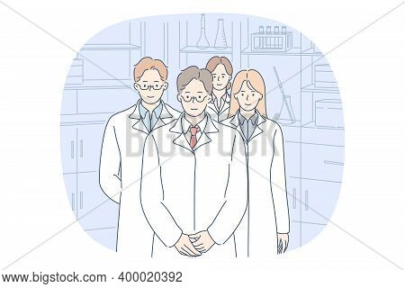 Doctor, Medicine, Healthcare Concept. Group Of Young Smiling People Doctors In White Uniform Cartoon