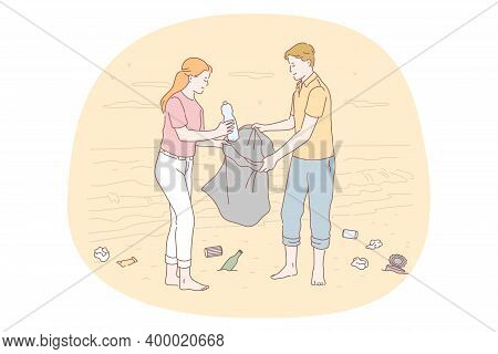 Collecting Garbage, Saving Ecosystem, Environment Cleaning Volunteer Concept. Young Couple Activists