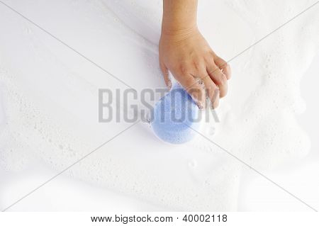 Cleaning  With Blue Sponge