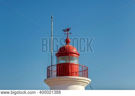 Red Lighthouse Close Up With Blue Sky On Background In Bodrum, Turkey