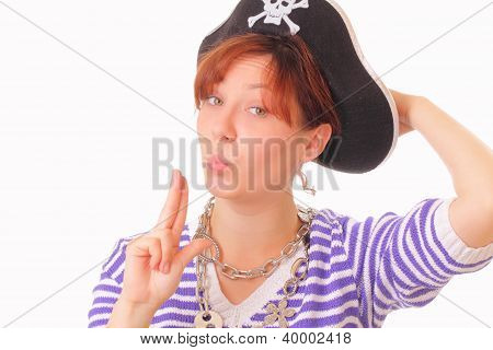 Beautiful Young Girl In The Pirate Hat
