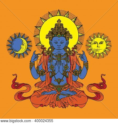 Banner With Hand-drawn Krishna, Sun And Moon On An Orange Background. Decorative Vector Illustration