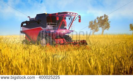 Industrial 3d Illustration Of Autopilot Harvester Combine Working On The Countryside Field