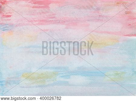 Hand Painted Watercolor Background Painting In Pink, Red, Blue And Ocher With Paper Print