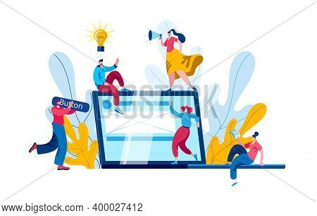 A Team Of Developers, Managers And Designers Creates A Website. The Concept Of A Vector Illustration