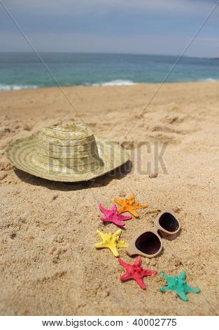 Beach Items, Sand And Starfishes